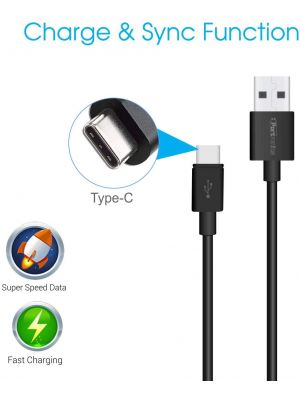 Portronics Konnect Core II POR 1030 1m Type-C USB Cable (Black)