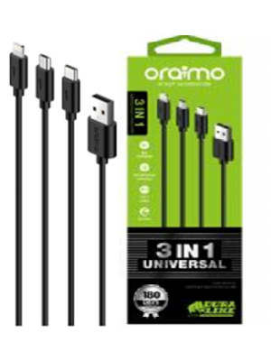 Oraimo OCD-X91 3-in-1 Universal Data Charge Cable (Black)