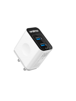 Oraimo Power Cube Dual USB Port Adapter with Micro USB Cable (White)