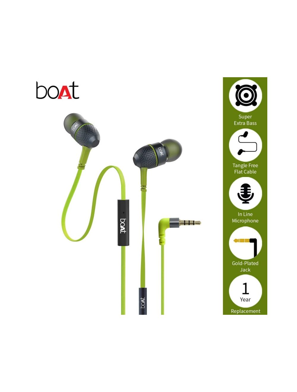 4987120831c Boat Bassheads 225 In-Ear Headphones With Mic (Neon Lime)