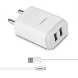 Ambrane AWC-22 2.1 Adapter with Double USB Port (White)