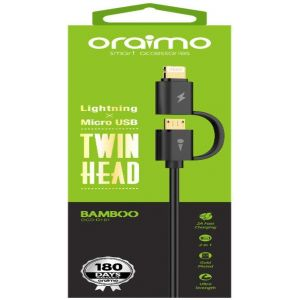 Oraimo OCD-D101 Twin Head 2 in 1 Cable (Black)