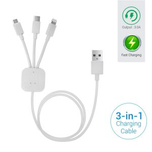 Portronics Konnect Trio POR 065 1M 3-in-1 Multi Functional Cable(White)
