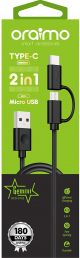 Oraimo cable OCD-D102 Micro USB & Type C 2 IN 1  Charging Cable(Black)